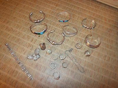 VINTAGE SILVER 925 Mexico MIXED JEWELRY Bracelets Rings MORE LOT 17 pc 280g 10oz