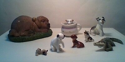 HUGE lot of 8 miniature dog/puppy Figurines. Dash hound, collie, mutt,