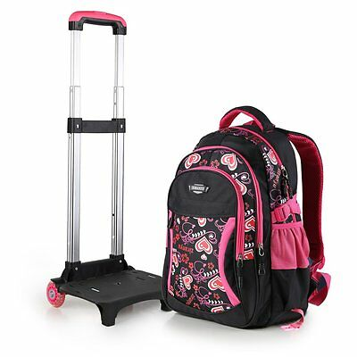 Student Child Backpack Removable Wheeled Trolley Schoolbag Hand Luggage Bags
