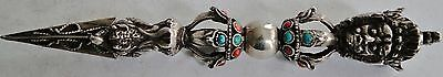 Rare Antique Solid Silver Tibetan Ceremonial Knife Phurba Coral Turquoise 1900