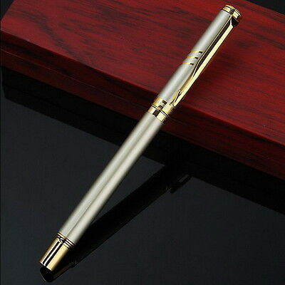 Charm Classic Silver Roller Pen Gold Clip Stationery School Writing Pens