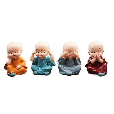 4pcs Kungfu Little Monk Figurines Car Babys Decoration Shaolin Temple Monks Toys