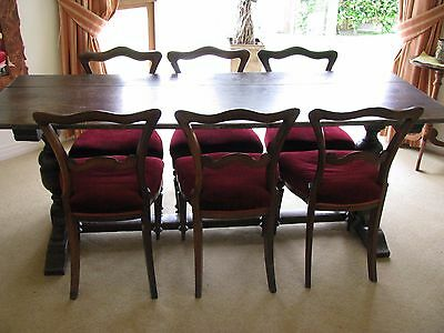 Antique Oak Refectory Table and Six Georgian Dining Chairs
