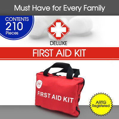 210 Pieces First Aid Kit Bag Supplies Home Office Travel Medical ARTG Registered