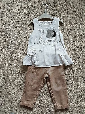 BNWT *Next* girls linen cotton sleeveless top + trousers outfit set *9-12 mth*
