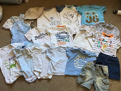 Baby Boys Clothes Bundle 3-6 Months Tops Shorts Hat Dungarees