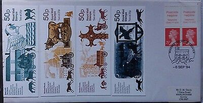 Great Britain 1994 Cover With 4 Coaching Inn Stamp Booklets & Booklet Stamps
