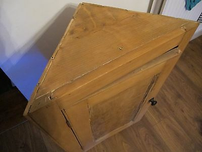 Vintage ANTIQUE Corner Cabinet Pine Shabby Chic Beeswax Project Standing Hanging