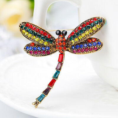 Women Vintage Multicolor Rhinestone Dragonfly Insect Scarf Brooch Pin Fitted