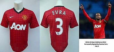 2012-13 Man Utd Home Shirt Signed by Patrice Evra, No.3 (10422)