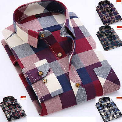 Mens Long Sleeve Shirt Business Work Smart Formal Casual Checked Shirt UK Seller