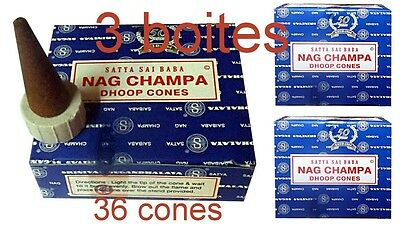 Nag Champa 36 Cones Support Lot Offre Encens Satya Original Meditation Yoga