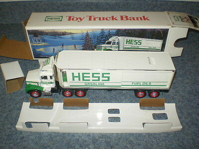 1987 Hess Tractor Trailer Toy Bank - MINT - NIB with cardboard inserts.