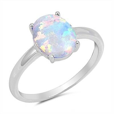 Sterling Silver 925 Real Oval Opal Gemstone Stacking Ring | FREE UK Delivery