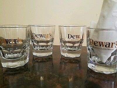 DEWAR'S SCOTCH  WHISKY~ SET of 4 ~LIBBEY  ~ 4OZ SHOT GLASSES LIQUOR COCKTAIL
