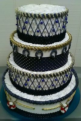 Large Nautical Navy Blue and Gold Themed Baby Boy Shower 4 Tier Diaper Cake Gift