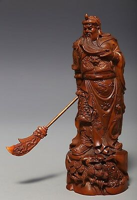 """Excellent Old Chinese Boxwood Hand Carving """"GuanGong"""" Sculpture Statue NA196"""