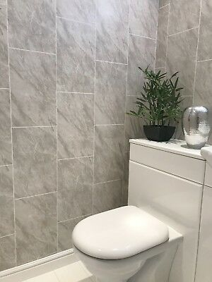 Cutline Grey Marble Tile Effect Bathroom Panels Shower Wet Wall Cladding PVC