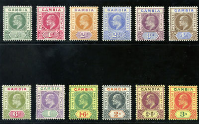 Gambia 1902 KEVII set complete MLH. SG 45-56. Sc 28-39.