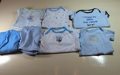 Baby Boy 6 Months Short Sleeve Bodysuits Pants Lot 7 Pc Summer Clothes Pajamas