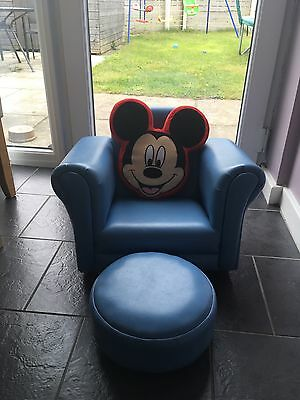 childs blue chair with matching footstool & disney cushion