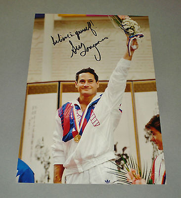 Greg Louganis SIGNED 12x8 Photo Genuine AUTOGRAPH Olympic Platform Diver + COA