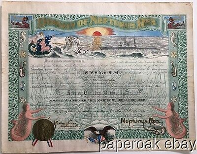 1925 Domain Of Neptunus Rex Crossing Equator U.S.S. New Mexico Certificate