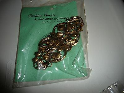 "vtg large FASHION Belt Buckle by JACMORE NY gold tone FLOWERS 4 3/4"" L x 2"" w"