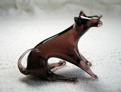 "Vintage Hand Blown Purple / Burgundy Glass Hound Dog  1-3/4"" Tall by 2-1/8"" Long"