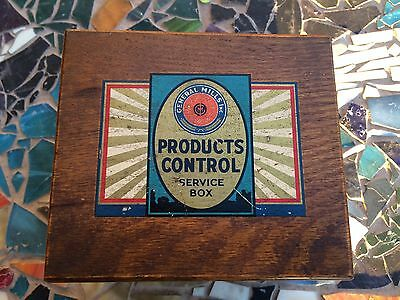 General Mills Products Control Service Oak Box-VERY NICE-Good sized+FREE SHIP.NR