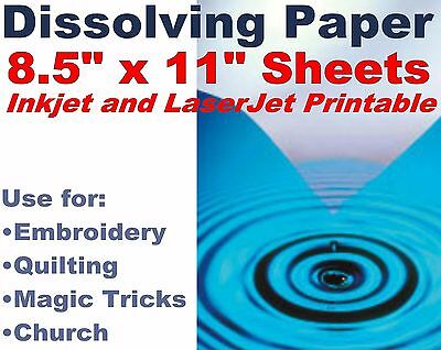 """20 Sheets Water Soluble Paper 8.5x11"""" PRINTABLE for Quilting Embroidery Church"""