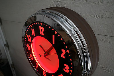 """A 22""""  Curtis Neon Clock.    Full face, Fat bezel, Brown wrinkle W/ Ruby Red"""