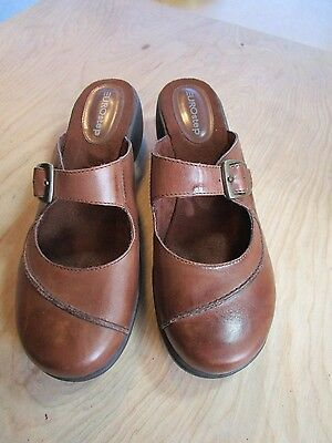EuroStep Halifax Brown Leather Mary Janes Stitched Mules Shoes Size Women's 9 M