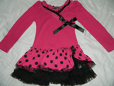 Girl's Hot Pink Top w/Black Polka Dots Size 5/6