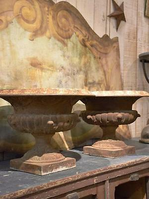 Pair of large antique French Medici urns – cast iron