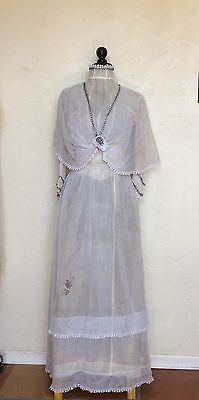 ANTIQUE VICTORIAN EDWARDIAN LACE NET WEDDING GOWN DReSS
