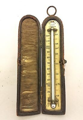 Antique Victorian Miniature Pocket Thermometer In Leather Case By J.Hicks London