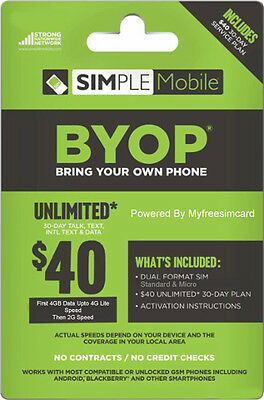 Simple Mobile Dual Sim Card With $40 Plan Free 1st Month 4GB Data Included