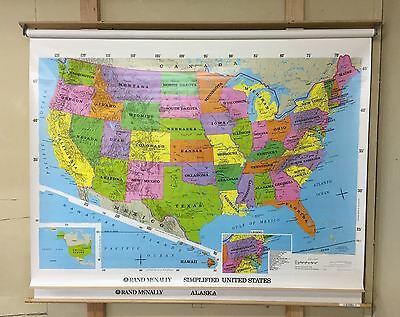 """Rand McNally 2 Layer Simplified United States Alaska Pull Down School Map 60"""""""