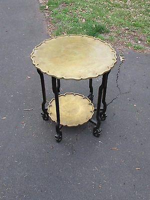 Antique Chinese Brass and Wood Folding Tray Table