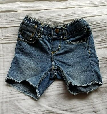 BABY GAP Denim Jean Frayed Hem Shorts INFANT BOYS SZ 3-6 Months Adjustable Waist
