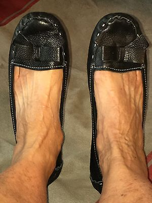 Nine West SZ 10M Black Soft Leather Ballet Flats With Leather Bow