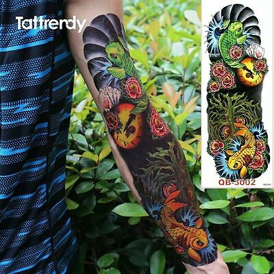 Full Arm Fish Roses Tribal Tattoo Temporary Stickers Body Art 3D Tatoo Sleeve