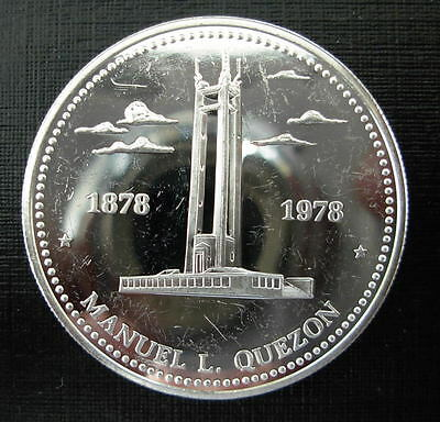 Philippines 1978 Silver 25 Piso Proof 100th Anniversary - Birth of Quezon