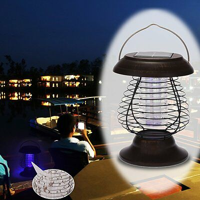 Solar-Powered Bug Zapper Insect Mosquito Killer LED Garden Camping Lamp Lantern