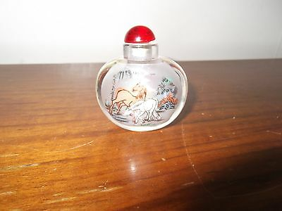 Chinese Snuff Bottle Hand Painted  Horse Design