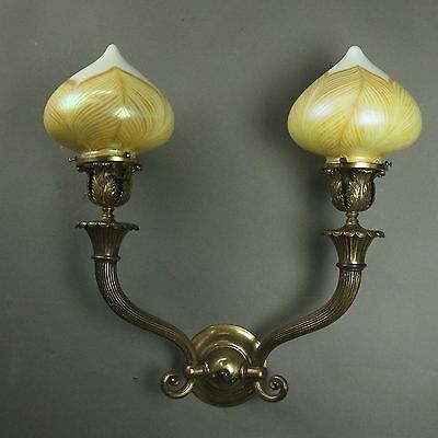 Antique Classical Style Two Light Bronze Wall Sconce