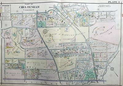 Orig 1909 A.h. Mueller, Montgomery County, Pa, Miss Marshall's School, Atlas Map