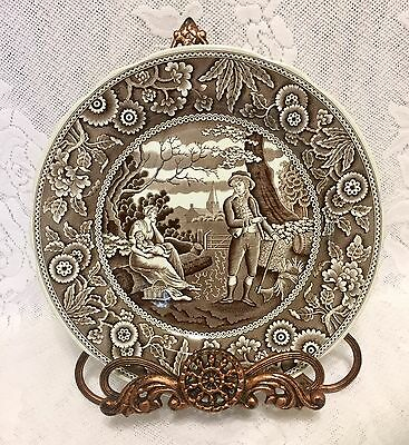 Spode Archive Collection Georgian Series Woodman Brown&White Transferware Plate