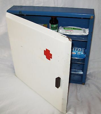 Vintage Metal Wall Cabinet Industrial First Aid Medical